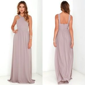 Lulus Taupe Air of Romance Maxi Dress Formal S